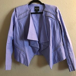 Periwinkle Structured Blazer with Ruffle Front